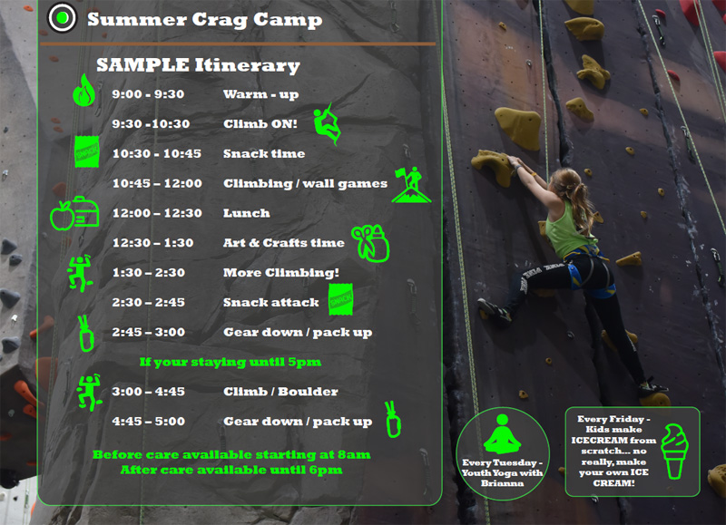 projectROCK Summer Crag Camp Daily Schedule