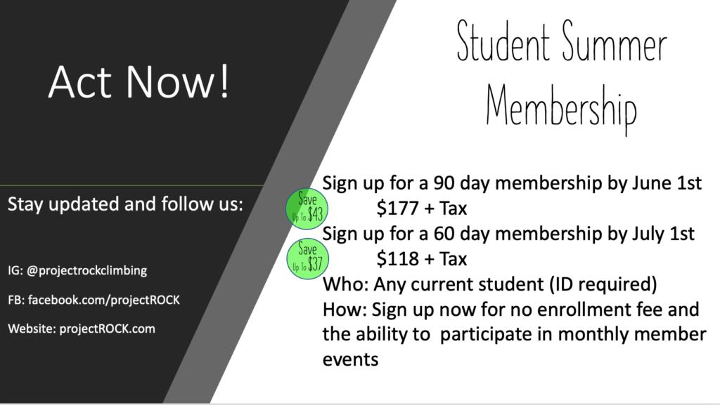 Student Summer Membership